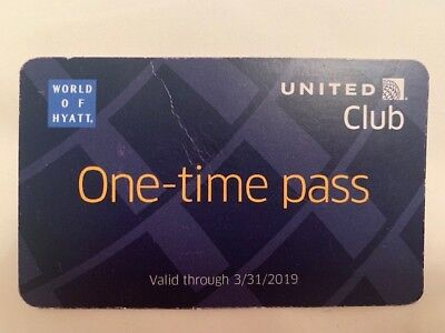 One United Club One Time Pass EXP 3/31/2019