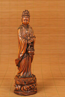 big chinese old boxwood hand carved basket kwan-yin statue netsuke collectable