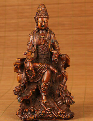 antique  chinese old boxwood hand carved dragon kwan-yin statue netsuke