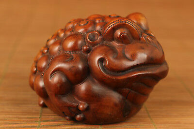 big rare boxwood hand carved Three back frog statue netsuke collectable