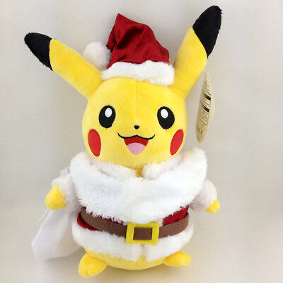 Santa Claus Pikachu Pokemon Plush Toy Stuffed Animal Soft figure Doll 10""