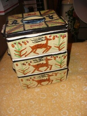 Vintage Hand Painted Japan Majolica Stacking Sewing Vanity Box