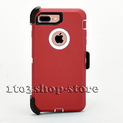 iPhone 7 Plus iPhone 8 Plus Case w/Holster Clip Fits Otterbox Defender Red White
