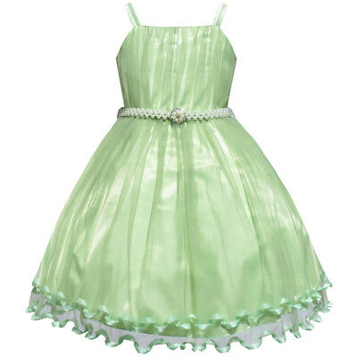 Sunny Fashion Girls Dress Green Cape Pearl Belt Wedding Party Age 3-14 Years