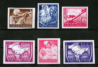 AZADHIND INDIA GERMAN OCCUPATION Mint LH Set of 6 Imperf Stamps