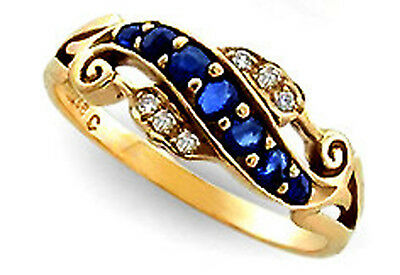 9ct Solid Gold Vintage Insp Sapphire & Diamond Ring R147 Custom
