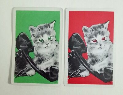 CATS vintage Playing cards swap cards on the phone