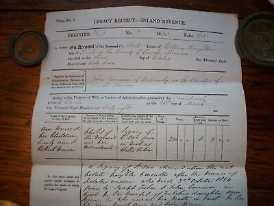 1855, Inland Revenue Document: William Houghton. Keisby, Lincolnshire + A.bruce.