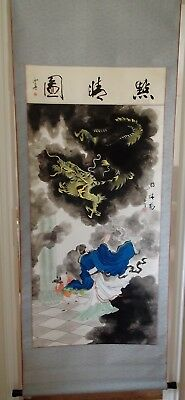 Chinese hanging wall scroll - Dragon and Artist with Apprentice - absolute magic