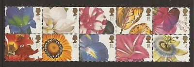 GB Stamps: 1997 Greetings Stamps, Flower Paintings, Booklet Pane 1955a