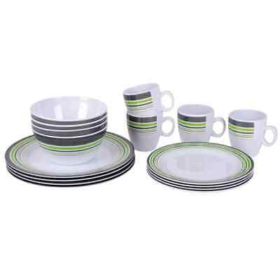Bo-Garden Ensemble de Vaisselle Service de Table 16 pcs Mélamine Multicolore