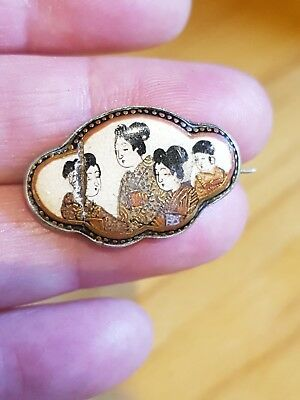 Antique Jewellery Japanese Meiji Satsuma Ware Pottery Enamel Geisha Brooch Pin