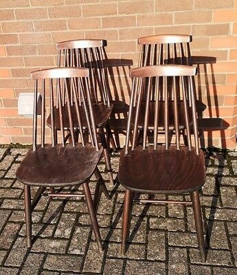 Vintage Wooden Chairs x 4 Mid Century. Upcycling Project. Ercol Goldsmith Shape