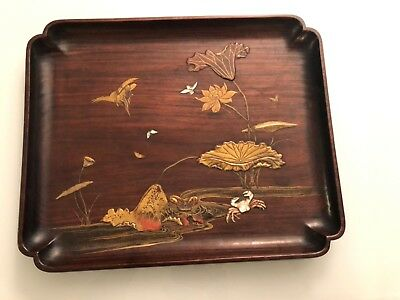 Antique japanese shibayama wooden plate pastoral centerpieces Meiji 19 th