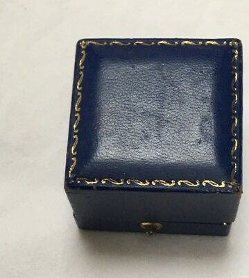 Antique Victorian to early 1900s ring box jewellery blue gold tooled box