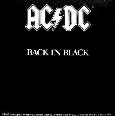 "Ac/dc Aufkleber / Sticker # 21 ""back In Black"" - Pvc"