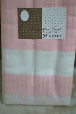 """3 Vintage NOS MARTEX Casual Hand Loomed in USA Pink Kitchen Towel 19"""" x 31"""" MIP"""