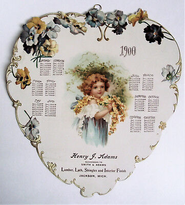 Antique VICTORIAN 1900 HARDWARE Die-Cut ADVERTISING NEW YEAR TRADE Card CALENDAR