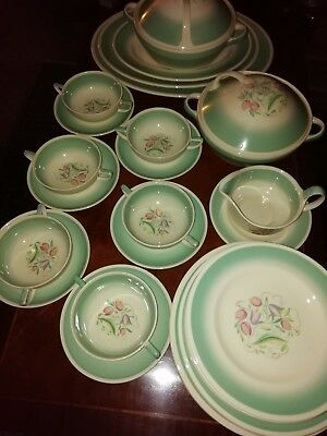 Susie Cooper Vintage 1930's Art Deco Era Dinner Service 39 Pieces Plates Soup Bo