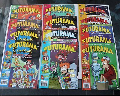13 x FUTURAMA COMICS #1 - #13 INCLUSIVE 2002/3/4 No1 HAS GIANT POSTER VGC