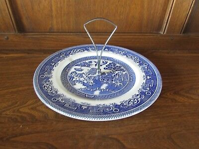 Vintage Myott~Old Willow pattern~1X25.2cms Single tier Cake Stand Blue& White
