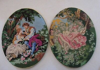 Oval Antique Pictures, Needlepoint Victorian Era Love scene & swing scence 6 X8