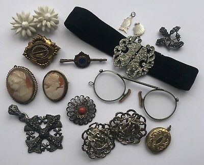 Job Lot Of Vintage & Victorian Jewellery Items Etc Perfect For Resell Mourning