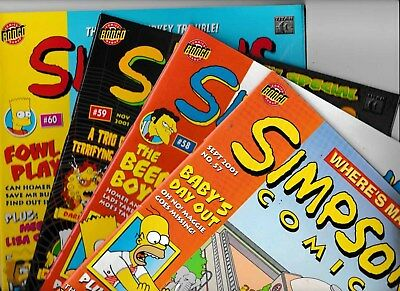 4 x THE UK SIMPSONS COMICS No's 57, 58, 59 & 60 2001 VGC