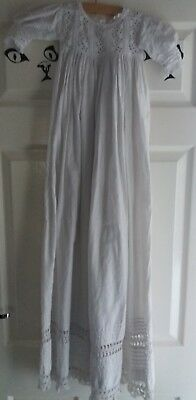 """Victorian Cotton Christening Gown 40"""" Long Vgc"""
