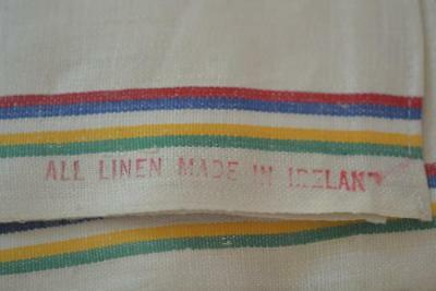 2 Antique Never Used Unwashed ALL LINEN MADE in IRELAND Kitchen Towel HUGE Markd
