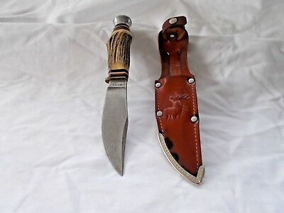 Vintage York Cutlery Co 632 Fixed Blade Hunting Knife W/ Stag Handles & Sheath