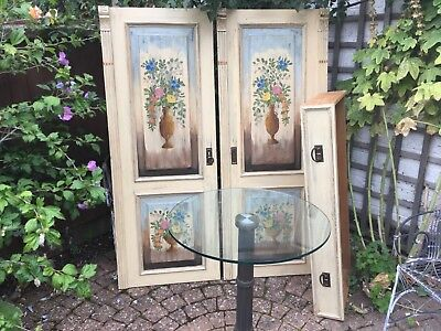 Delightful Antique Painted Pine Armoire-Wardrobe
