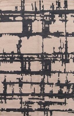 Artistic Soft Ivory/Charcoal Hand Knotted Modern Oushak Oriental Area Rug 5'x8'