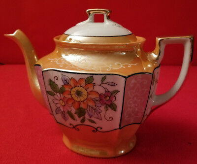 Vintage 4 Cup Teapot Hand Painted Floral With Gold Gilded Design - Made In Japan