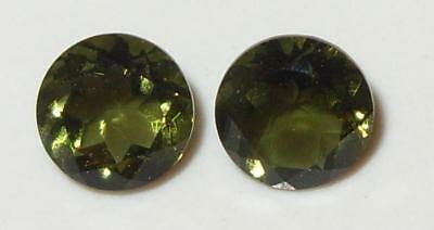 1.39ct Pair Faceted TOP QUALITY Natural Czechoslovakia Moldavite Round Cut 6mm