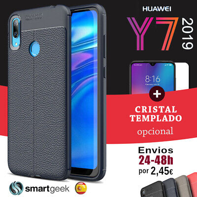 FUNDA TPU CARBONO gel HUAWEI P SMART carbon fiber rugged + CRISTAL TEMPLADO case