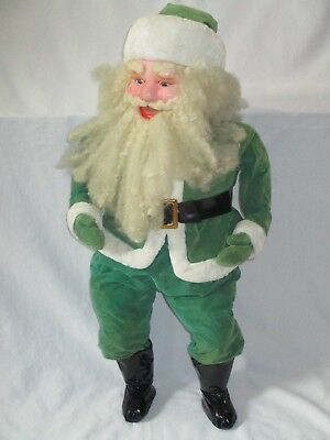 Vintage Christmas Tall Plush Stuff Green Santa Claus Doll Red Nose Plastic Face