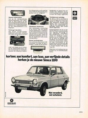 1974 Simca 1100 (Dutch, 1pg.) Advertisement (AAD.667)