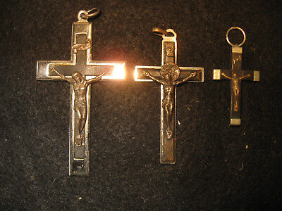 3 Vintage Ebony and Nickle Silver Crucifixes, Rosary Cross Christian Religion DF