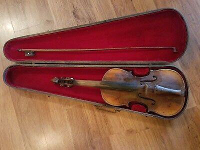 Antique Koph Violin Bow & Wood Case Mother of Pearl Inlay 1800's Restoration