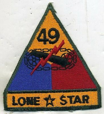 Vintage US 49th Armored Lone Star Color Patch Cut Edge