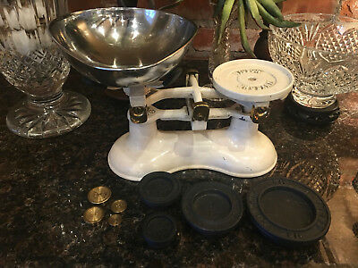Antique Vintage English cast iron Farmhouse Kitchen Balance Scale BRASS Weight
