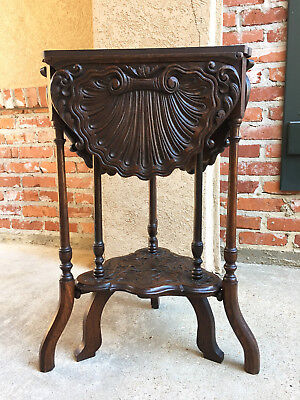 Petite Antique French Carved Oak Handkerchief Corner TABLE Victorian Gate Leg