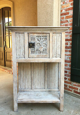 Antique French Carved Oak Gothic Vestment Cabinet Storage BLEACHED Stripped