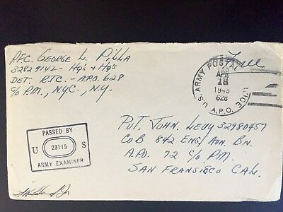 WWII WW2 US Army Censor Training Center Rangarh India APO 628 cancel 1945