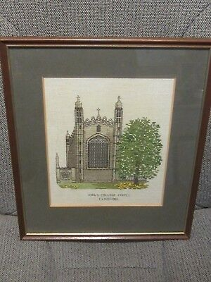 Framed Embroidered Picture of King's College Cambridge