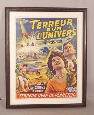 ORIGINAL 1955 This Island Earth Sci Fi MOVIE POSTER Belgium Edition SPACE SHIPS