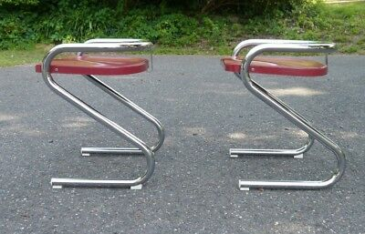 Pair of  Mid Century Modern 1950s Red Fiberglass Chrome Leg Chairs LMV LAMMHULT