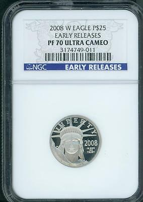 2008-W $25 PLATINUM STATUE of LIBERTY 1/4 Oz. NGC PF70 PR70 Early Releases E.R.
