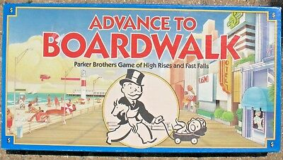 Advance to Boardwalk Monopoly game of High Rises and Fast Falls 1985